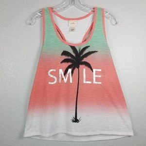 Self Esteem racer-back tank Smile and tree graphic